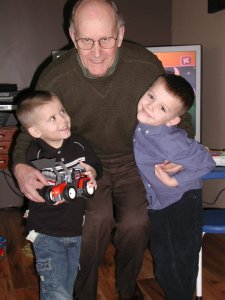 This is one of my favorite pictures of my dad with Andrew and Ethan.