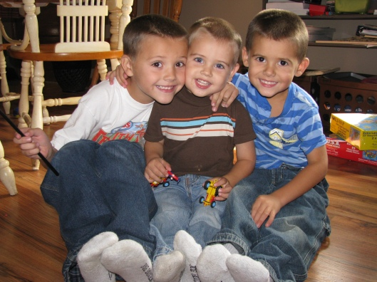 3 boys with socks